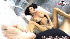 Kinky german skinny brunette mature milf get creampie Thumb