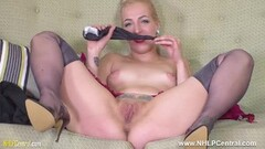 Naughty Blonde chick stuffs pussy with panties and fingers hard Thumb