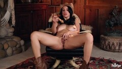 Hot cowgirl Jelena Jensen toys her saucy pussyhole Thumb